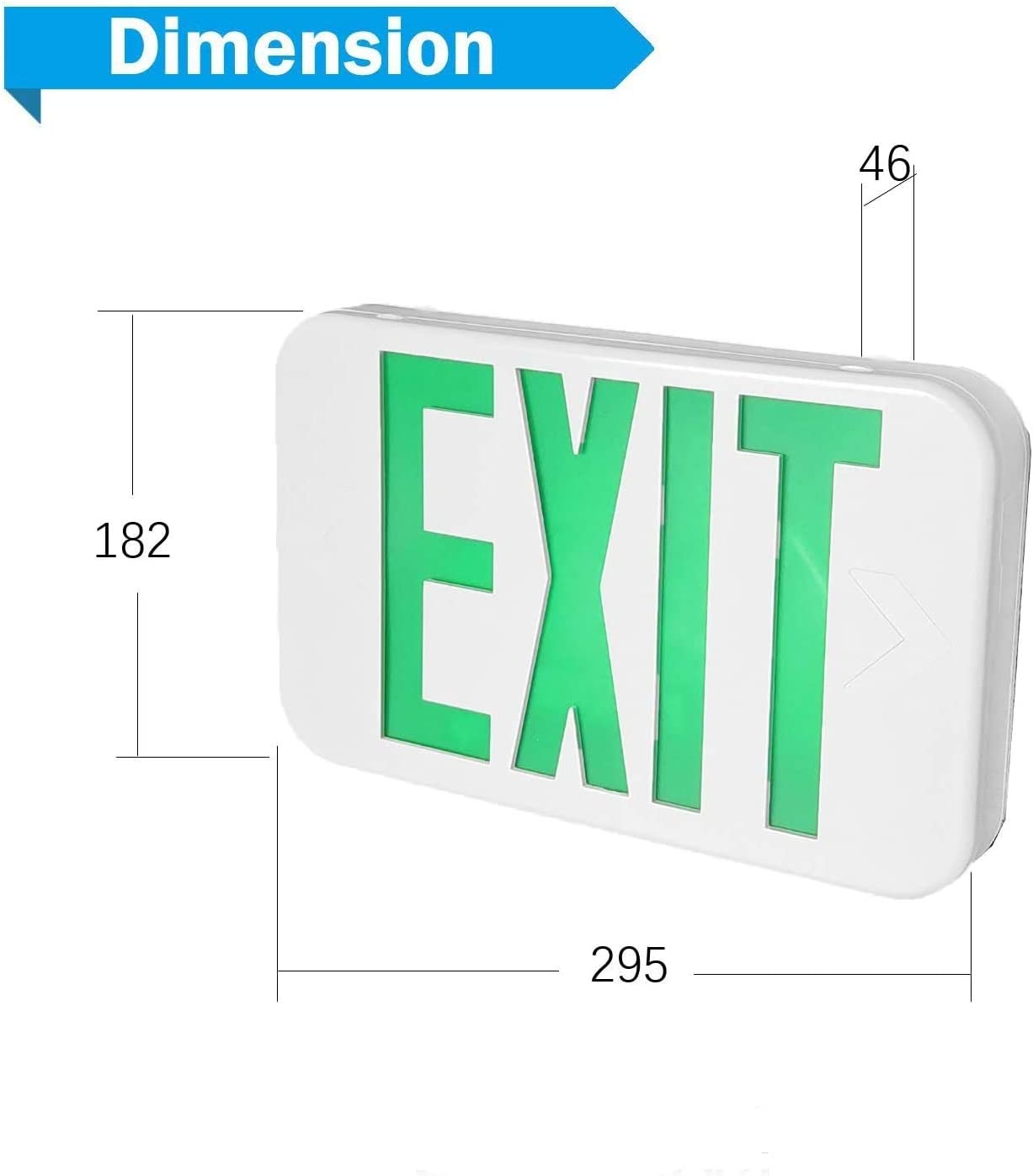 Double Faces EXITLUX 4 Pack LED Green EXIT Sign Emergency Lighting with Battery Backup-Hardwired-Exit Sign Emergency Lighted