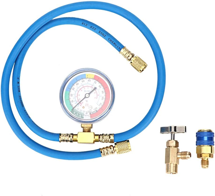 Yctze R134A Refrigerant Gauge Can Measuring Free Gifts shipping New Hose Recharge