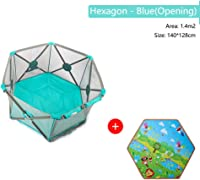 Foldable Baby Playpen Portable Breathable Mesh Safety Fence Non-Toxic Materials Prevent Collision Playard For Indoor Outdoor Girls Boys Products (Color : Hexagonal blue, Size : B)