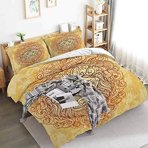 Safari Duvet Cover Set,Zodiac Lion Baroque Motifs on Grunge Aged Background Pride Sign Astrology Theme,Decorative 3 Piece Bedding Set with 2 Pillow Shams,California King(104'x98') Yellow Orange