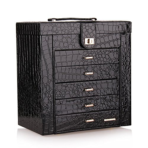 BELLAMORE GIFT Large Faux Leather Jewelry Box/Organizer for Women, Gift Box for Necklaces, Bracelets, Watches, Earrings, Rings (Black/231)