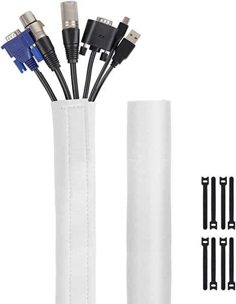 Kootek 118 Inch Cable Management Sleeves With Cable Ties Neoprene Cable Organizer Cord Cover Wire Hider For TV Computer Office Theater White Large