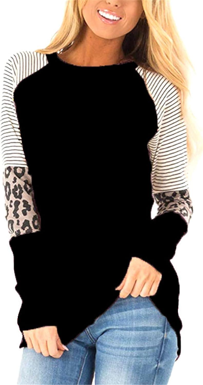 Andongnywell Women's Leopard Print Long Sleeve Tunic Tops Blouse Sweatshirt Pullover Long Sleeve T Shirt Tops