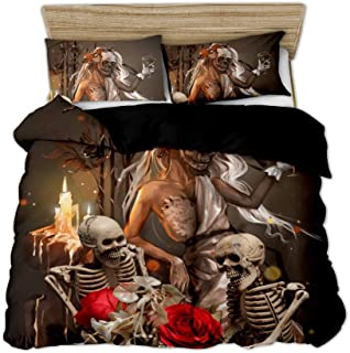 Feelyou Skull Pattern Duvet Cover Set Full Size Beauty and Skeleton Bedding Set Scary Themed Decorative Skull Bones Comforter Cover with 2 Pillow Shams Novelty Microfiber Quilt Cover Zipper 3 Pieces