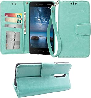 Wallet Flip Case for Nokia 8, PU Leather Magnetic Closure Wallet Phone Case [Kickstand Feature] with Card Slots Wrist Strip Cover for Nokia 8,Mint Green