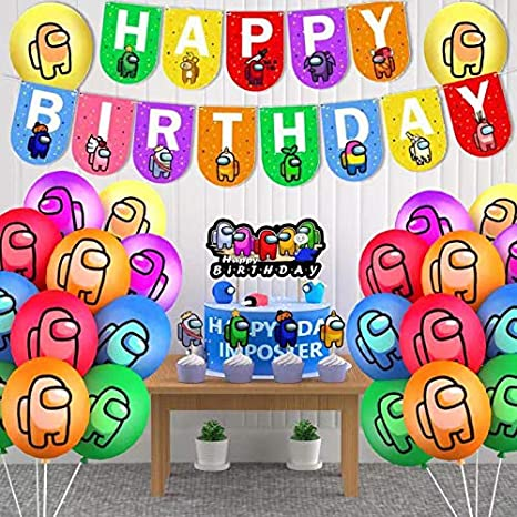 Heidaman Among Us Birthday Decorations Among Us Party Decorations Video Game Among Us Gamer Birthday Party Supplies Set Include Banners Balloons Cake Tops