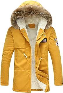 Kuncg Parka Uomo Invernale con Cappuccio Cappotto d'inverno Fleece Caldo Giacca con Tasca