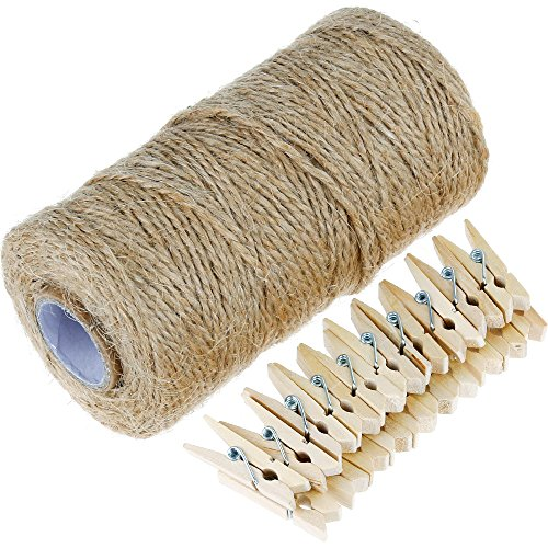 Anpro 320 Feet Jute Rope Twine, 50 Pcs 3.5cm Wood Clothespins,Multi-Purpose Arts Crafts Twine Industrial Heavy Duty Packing String for Gifts, DIY Crafts, Festive and Gardening Applications
