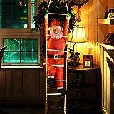 Deuba LED Weihnachtsmann auf Leiter XXL 240cm für In-/Outdoor 8 Leuchtfunktionen Santa Claus Nikolaus Weihnachten - 7