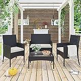 Merax Garden Backyard 4 PC Rattan Chair Patio Furniture Set, Outdoor with Weather Resistant Cushions Wicker Sofa, Brown