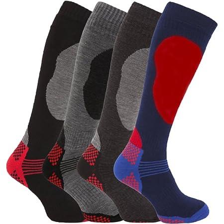 4 Pairs of Mens High Performance Thermal Ski Socks-Assorted-UK 6 - 11 ( Eur 39 - 45 )