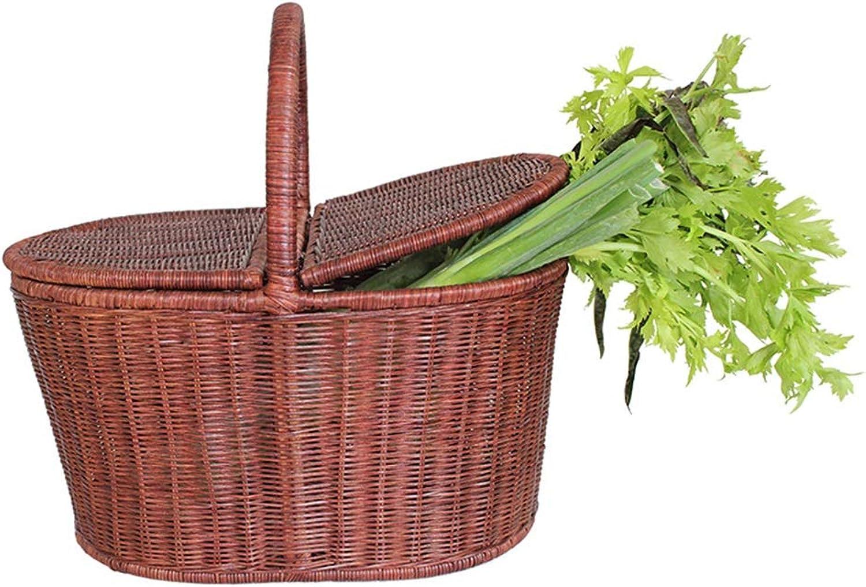 BEN-YI Panier créatif en Bambou et en rougein Panier à Pique-Nique Panier à Fruits avec légume Panier à provisions portable à Double Coque -Corbeille de Fruits (Couleur   Beige, Taille   35cm)