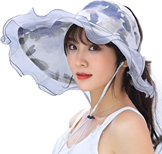 Women Visor Sun Hats Open Top Wide Brim Adjustable Summer Beach Cap Pool Golf UV Protection