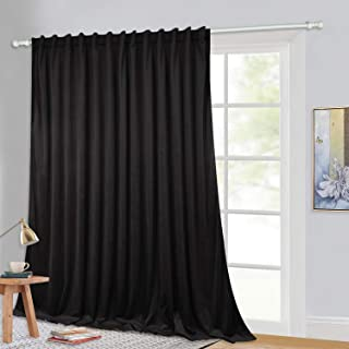 Insulated Wide Velvet Curtain Panel - Portable Sliding Door Blackout Drape for Living Room, Extra Wide Long Wall Backdrop/Divider for Basement/Shared Apartment, Black, W100 x L108-inch, 1 Panel