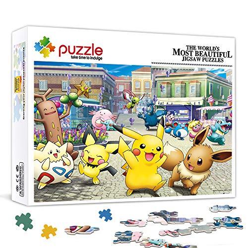 HQHSC Puzzle 500 pièces pour Adultes Pokemon Famille Anime Jeu de Puzzle en Bois oeuvre Puzzle Bricolage Cadeaux pour Adultes Adolescents Enfants familles 20,5 x 14,5 Pouces