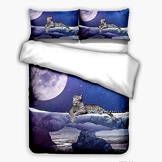 XLLJA Double Bed,3D-tryckt polyester bomull djur serie 2 eller 3 st sängöverkast, dubbel sängöverkast och kuddöverdrag, ba...