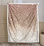 Pink Glitter Blanket Pink Girls Blanket Pink Gold Bling Glitter Printed Sherpa Fleece Blanket Soft Comfort Blanket for Bedroom Couch Sofa (Throw(50'x60'), Gold Pink)