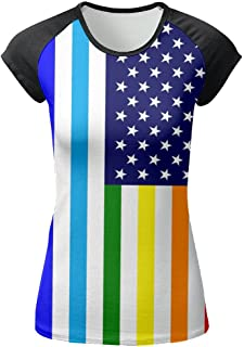 LGBT American Flag Women's Front Printing Round Neck Short Sleeve T-Shirt