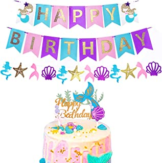 RUBFAC Mermaid Happy Birthday Banner and Glitter Mermaid Cake Topper Favor Mermaid Theme Under the Sea Party Decorations