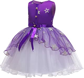 Zhhlaixing Girls Star Dress Princess Lace Dress Piano Performance Dress for Kids Formal Wedding Bridesmaid Party Christening Dress 2-14 Years