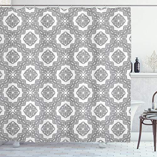 Ambesonne Celtic Shower Curtain, Vintage Geometric Diagonal Symmetrical Binding Celtic Knots Motifs Illustration, Cloth Fabric Bathroom Decor Set with Hooks, 70' Long, Black and White