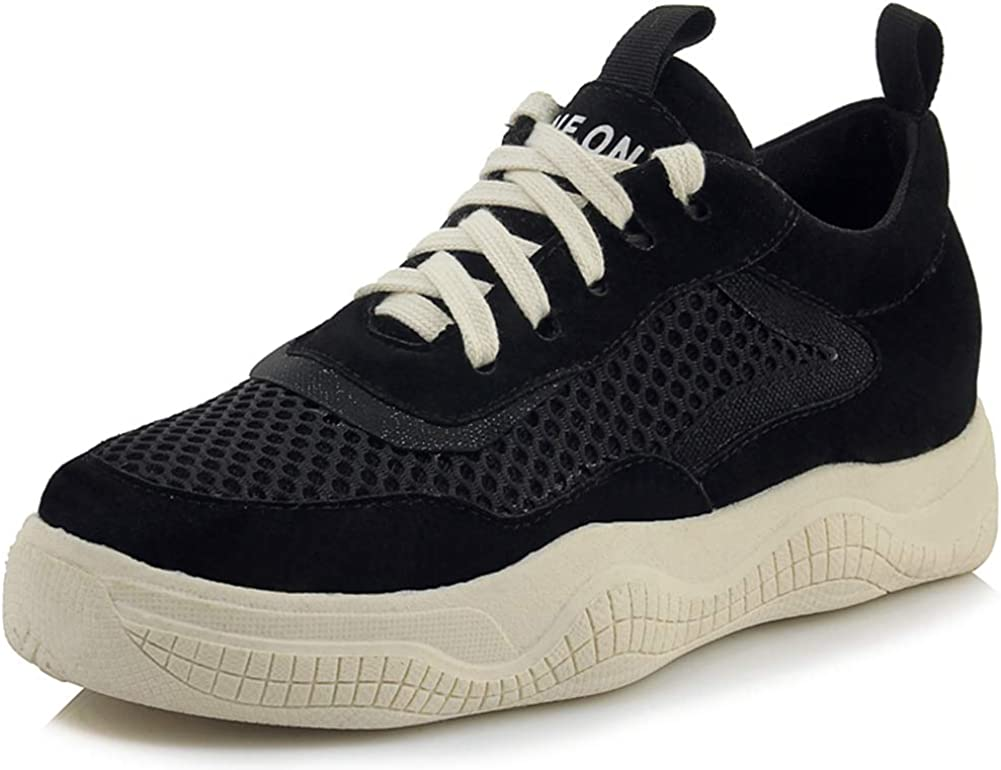 Vimisaoi Women's Lace Up Fashion Sneakers, Trendy Dad Sneaker Trainer Casual Chunky Platform Running Sports Walking Shoes Latex Padded Insole Black White