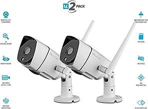 Vimtag B3 [2 Pack] White Outdoor Camera, Wi-Fi, Video Monitoring, Surveillance, Security Camera, Plug/play, Night Vision