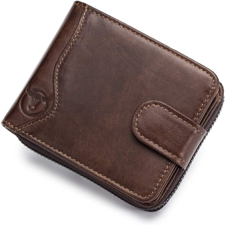 BND-Brieftaschen Herrenportemonnaie aus Leder Multi-Card Seat Organ Reißverschluss Führerschein Brieftasche,Gute Qualität (Farbe   braun, Größe   S-B) B07MG7ZR1M
