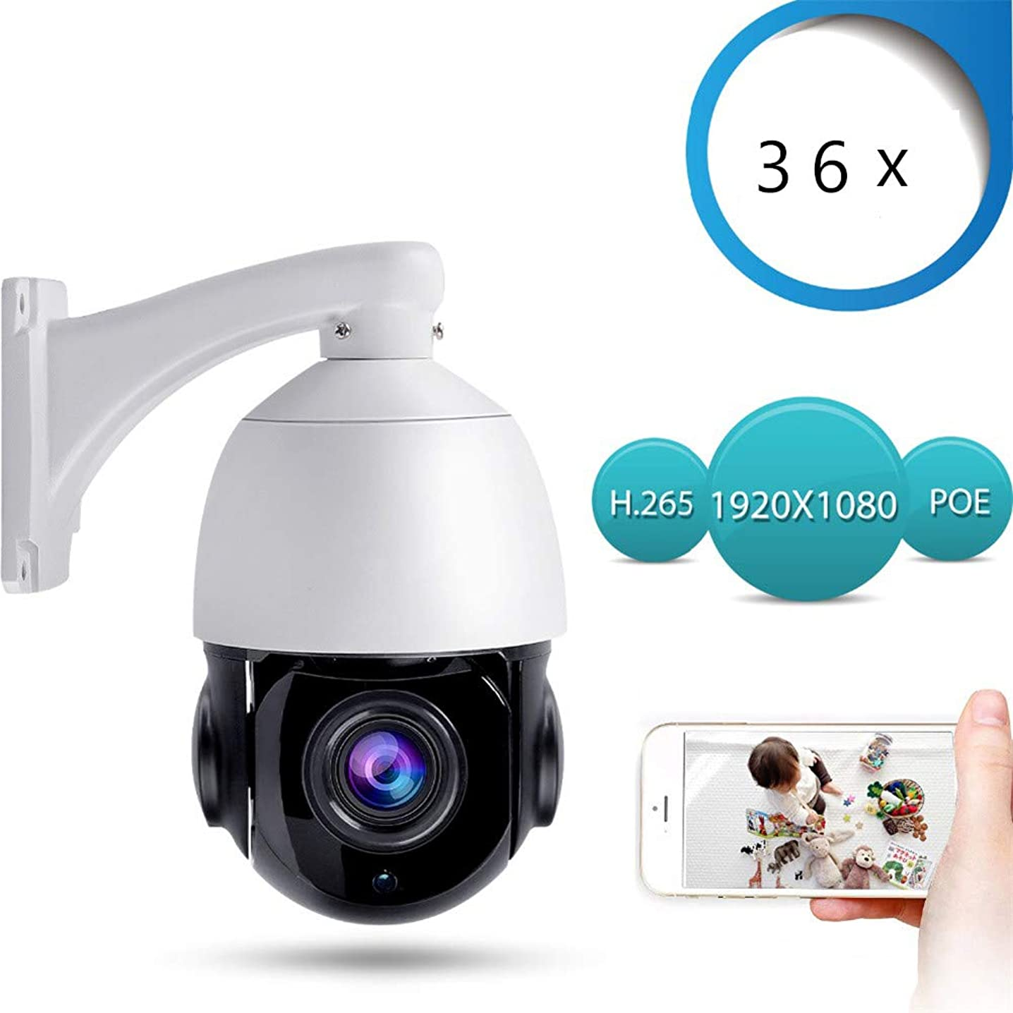 AINGOL PoE+ PTZ Security Camera, 36X Optical Zoom PTZ Camera,Night Vision, 2.0MP Waterproof Support Automatic Tracking 50M IR Outdoor CCTV Camera