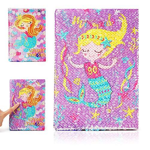 PowerKing Diario para niñas, Cuaderno de Diario de Lentejuelas Reversible para niñas y niños, Cuaderno Escolar de Sirena para niños y Regalos para niños