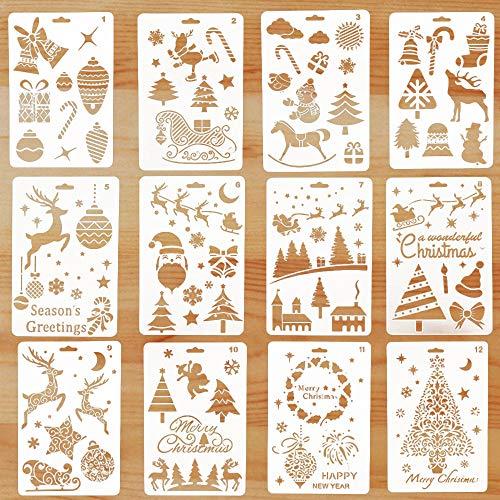 Natale Stencil per Bambini Pittura, 12 Pezzi Stencil di Natale Disegno Verniciatura, Bullet Journal Stencil Riutilizzabili per Decorazione Natalizia Fai-da-Te, Bello Regali Natale Bambini