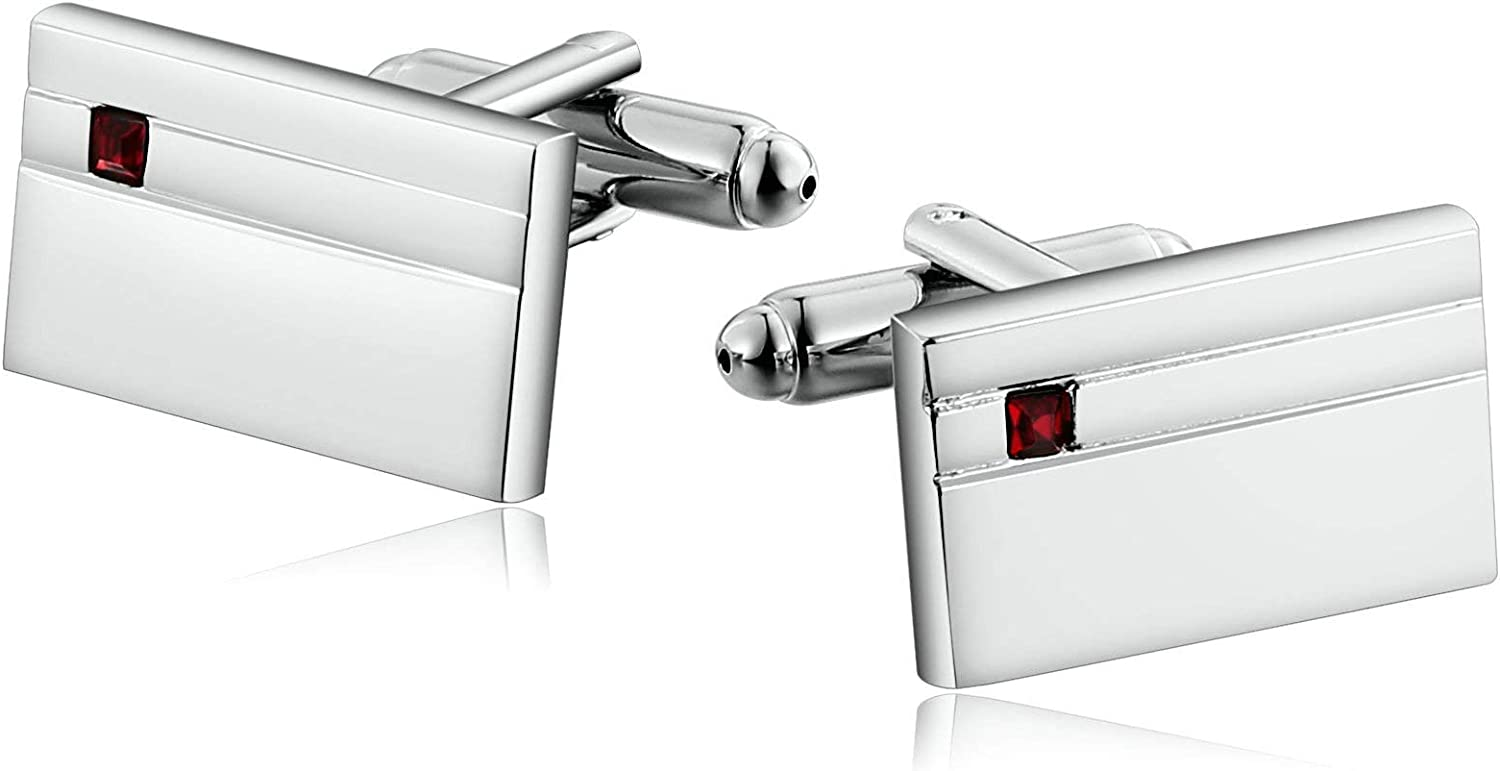 AMDXD Stainless Steel Cufflinks for Cu Silver 67% OFF of fixed price Men Red Ranking TOP10