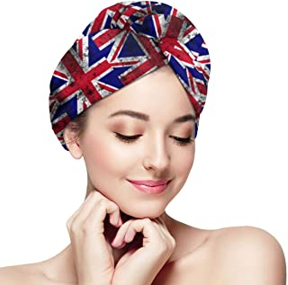 Distressed UK British Flag Microfiber Hair Towel Wrap With Button Quick Dry Hair Turban For Women Girls