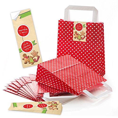 10 bolsas de papel con lunares rojos y blancos para regalo, 18 x 8 x 22 cm, pequeñas bolsas de papel + pegatinas de Navidad en las galletas, galletas de Navidad, color verde y rojo