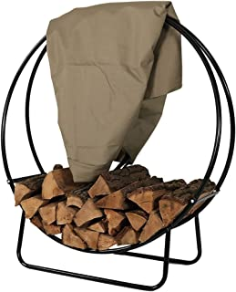 Sunnydaze Outdoor Firewood Log Hoop and Cover Set - 40-Inch Powder-Coated Steel Lumber Storage Rack and Khaki Weather-Resistant Heavy-Duty Protective PVC Cover