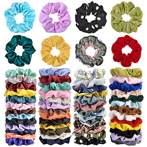 Price comparison product image Cehomi 52Pcs Hair Scrunchies Velvet, Chiffon, Satin Elastic Hair Bands Scrunchie Bobbles Soft Hair Ties Ropes Ponytail Holder No hurt,  Soft Hair Accessories for Women or Girls