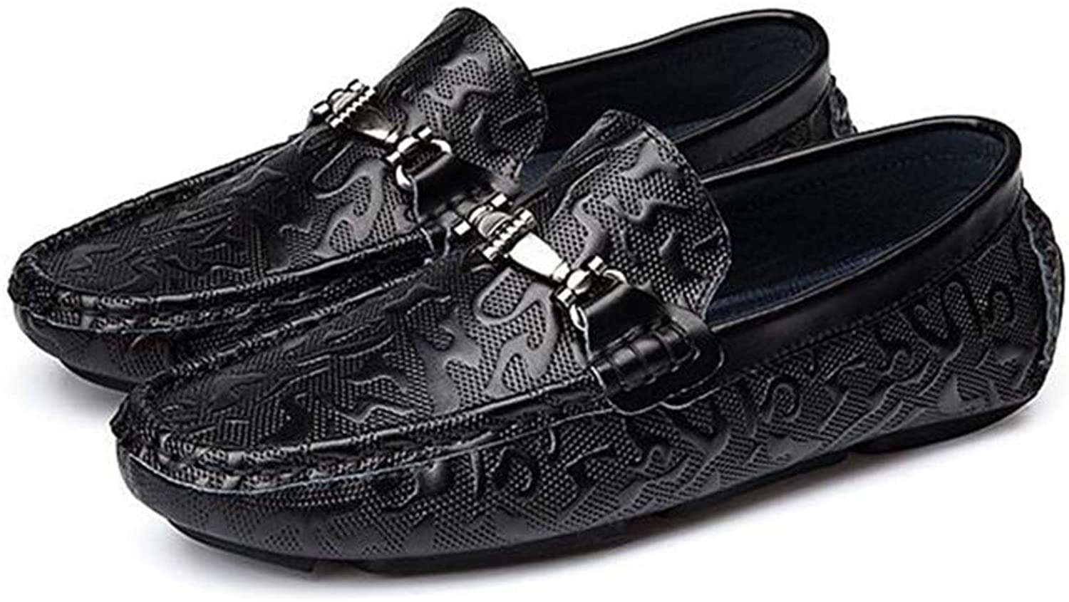 Y-H Men's Casual shoes,Spring Fall Light Soles Loafers & Slip-Ons, Soft Sole Comfort Driving shoes Trekking,black,42
