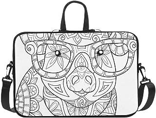 Adult Coloring Pagebook Pig Style Art Briefcase Laptop Bag Messenger Shoulder Work Bag Crossbody Handbag for Business Travelling