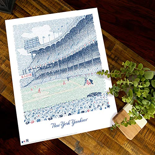 Yankee Stadium Word Art - 16x20 Unframed - Handwritten with Every Yankee to Play There - Yankees Gifts & Decor