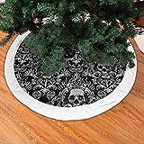 BIAN-61 Christmas Tree Skirt Black Skull Damask Goth Gothic Snowman Xmas Tree Skirt Holiday Festive Decorations Ornaments Party Supplies- White Villi Rim 48'