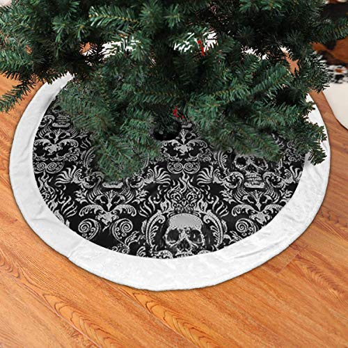 BIAN-61 Christmas Tree Skirt Black Skull Damask Goth Gothic Snowman Xmas Tree Skirt Holiday Festive Decorations Ornaments Party Supplies- White Villi Rim 48""
