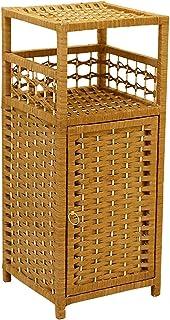Table d'appoint Table de chevet en rotin simple Table de chevet Table d'appoint latérale Meuble de rangement avec porte et...