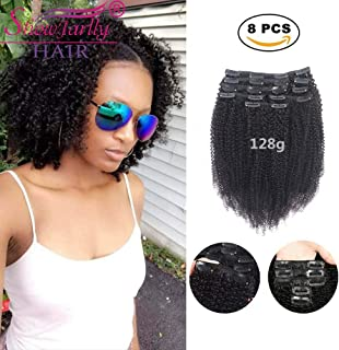 "Afro Kinky Curly Clip in Hair Extensions Human Hair,SHOWJARLLY 8Pcs/128g 10"" Thick Full Head Curly Wave Double Weft #1B Natural Black"