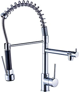 Fapully 100333C Modern High Spring Single Handle Single Hole Kitchen Sink Faucet with Pull Down Sprayer Mixer Tap,Chrome