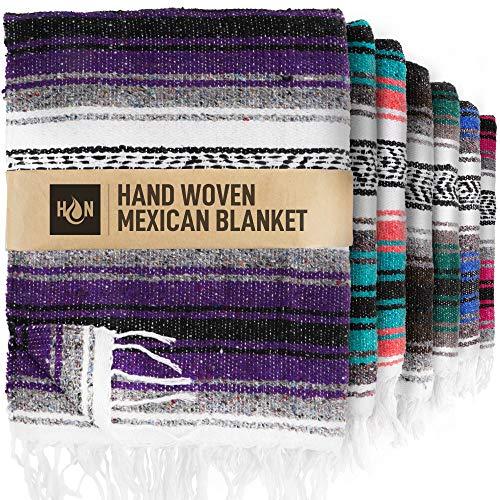 Handcrafted Mexican Blankets, Artisanal Handwoven Serape Blanket, Authentic Falsa Blanket, Great As Beach Blanket, Camping Blanket, Picnic Blanket, Outdoor Blanket, Boho Throw Blankets, Purple