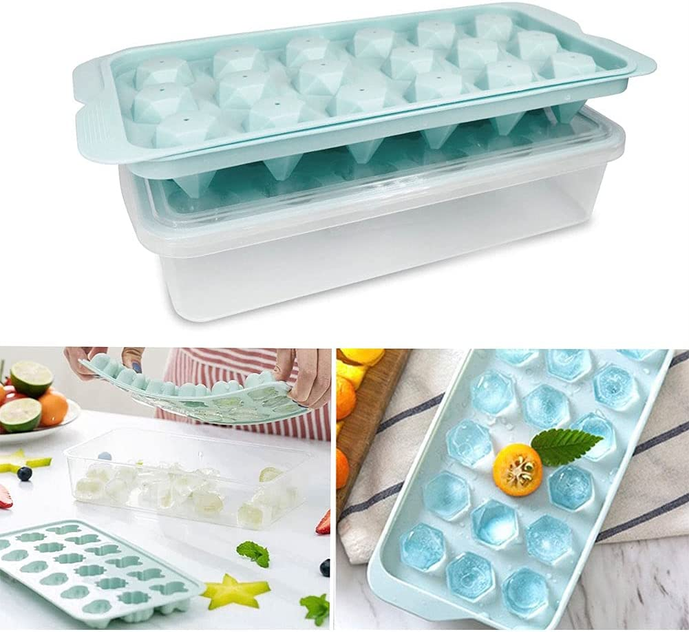 Ice tray with lids,2 pack/36-Ice Trays( butterfly and diamond),Silicone Ice Cube Molds Box in the Freezer, Shelves, Pantry ,Baby food silicone freezer tray,Reusable Safe (green)