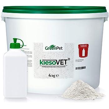 GreenPet KiesoVet Kieselgur 4kg - Reine biologische Diatomeenerde inkl. Stäubeflasche im Eimer, Kieselerde als Pulver, Bio Produkt für Hühnerställe, Hühner & Geflügel Betriebe