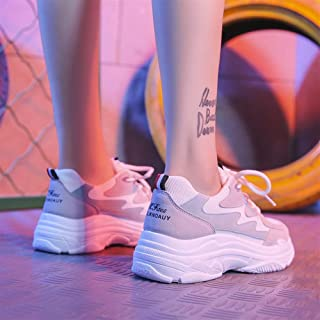 2019 Spring New Increase Old Shoes Female Korean Version of The Wild Casual Shoes Breathable Sports Shoes (Color : Green, Size : 39)