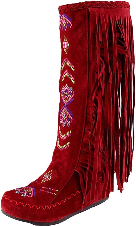 TAOFFEN Women Classic Low Heel Tassel Boots