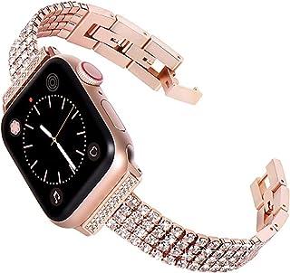 ZYOONG Correa de acero inoxidable para mujer con diamante para reloj 6, 5, 44 mm, 40 mm, para iWatch Series 4, 3, 42 mm, 3...
